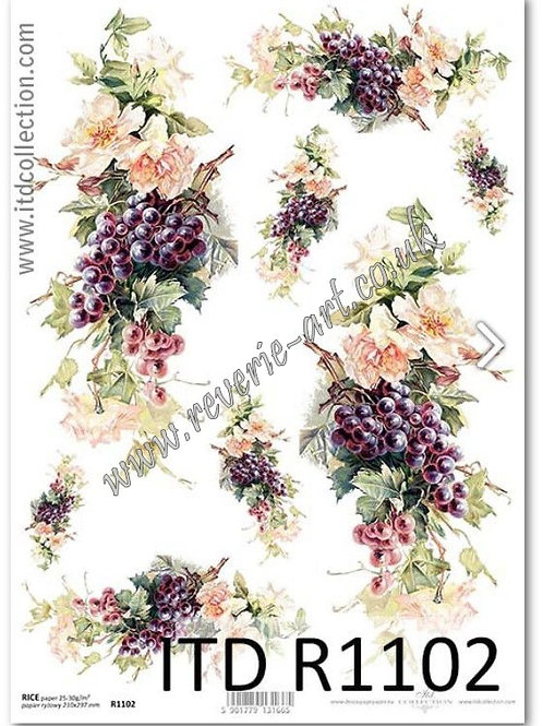 A4 rice paper R1102 Autumn flowers and grapes