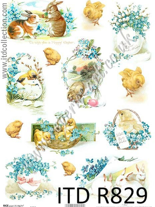 A4 rice paper R829 Vintage Easter