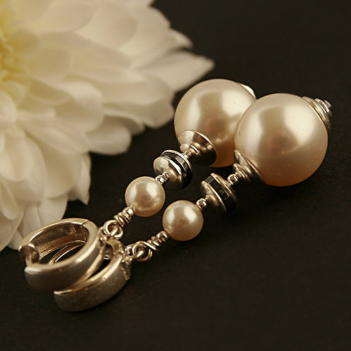 Bianca pearls - Sterling silver earrings with Swarovski