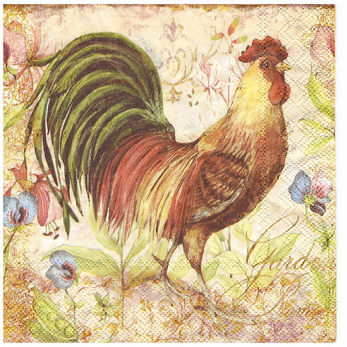 Napkins N965 Lunch size 33x33cm Rooster
