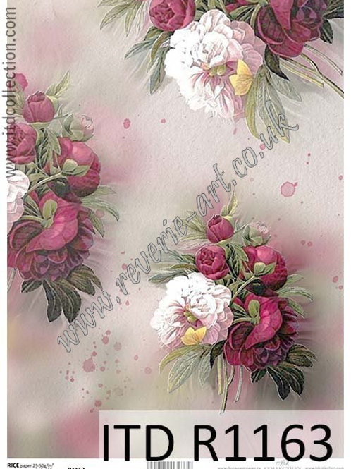 A4 rice paper R1163 Vintage peony flowers
