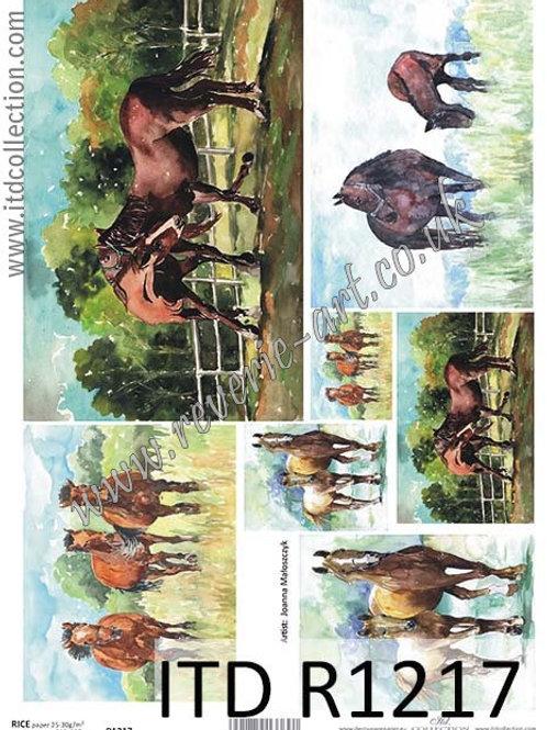 A4 rice paper R1217 Horses