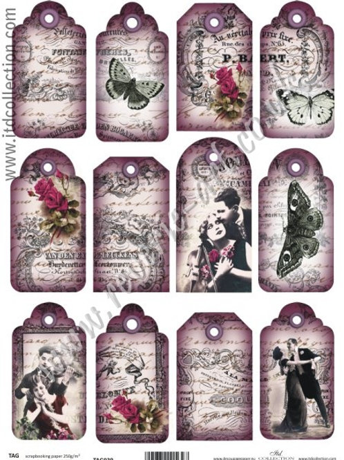 Scrapbooking and craft paper A4 - TAG vintage 039