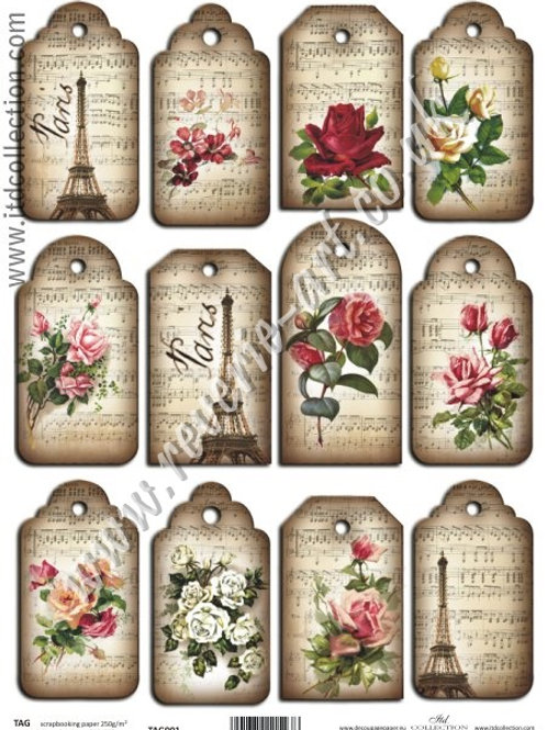 Scrapbooking and craft paper A4 - TAG vintage Paris 001