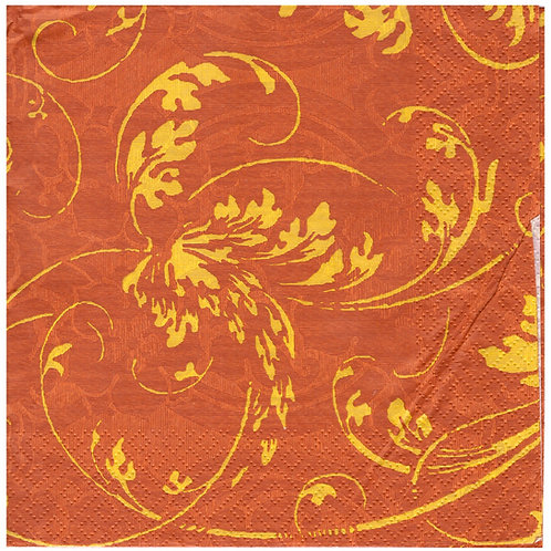 Napkins N1143 Lunch size 33x33cm Orange and yellow flowers pattern