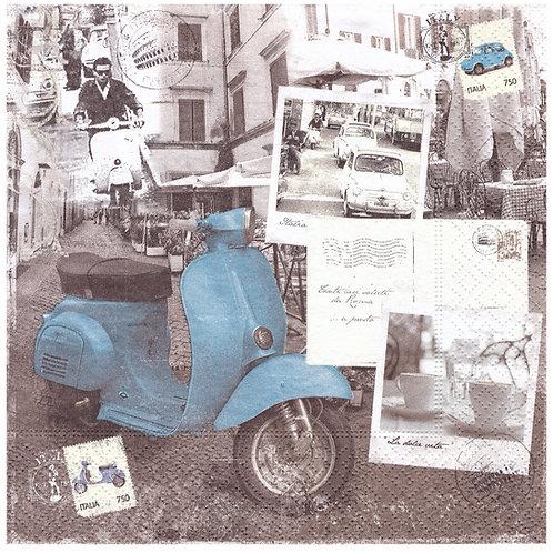 Napkins N1040 Lunch size 33x33cm Vintage blue vespa Italy