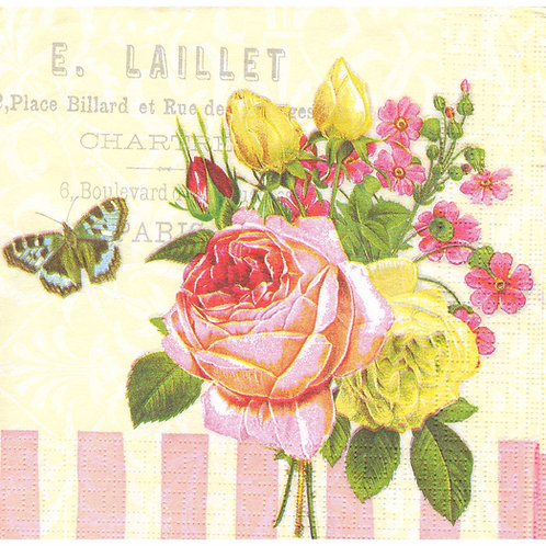 Napkins N1112 Lunch size 33x33cm Flowers roses and buttefly