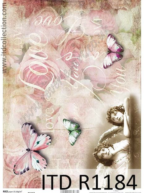 A4 rice paper R1184 Vintage angels and butterfly