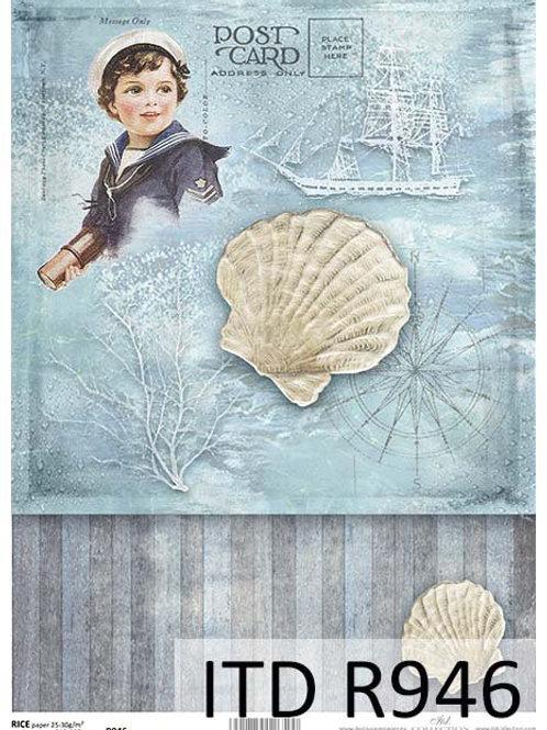 A4 rice paper R946 Vintage sea