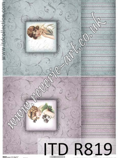 A4 rice paper for decoupage R819 - Vintage box, girls