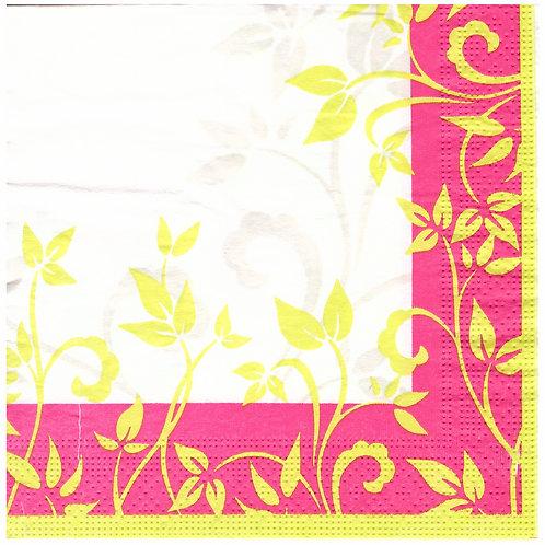 Napkins N1161 Lunch size 33x33cm Pink floral corner pattern