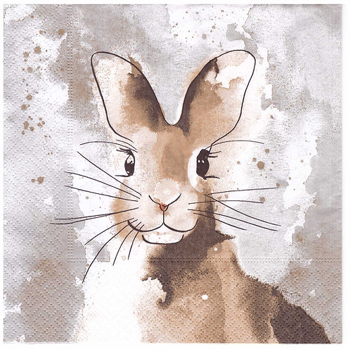 Napkins N950 Lunch size 33x33cm Watercolour bunny