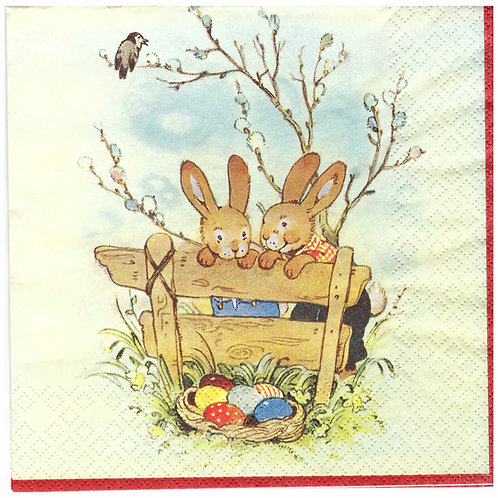 Napkins N934 Lunch size 33x33cm Bunnies Easter eggs hunt