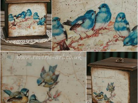 Blue Birds Wooden box tutorial