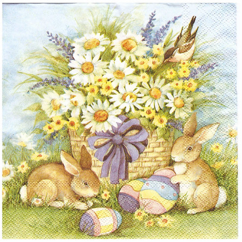 Napkins N954 Lunch size 33x33cm Flower basket and bunnies