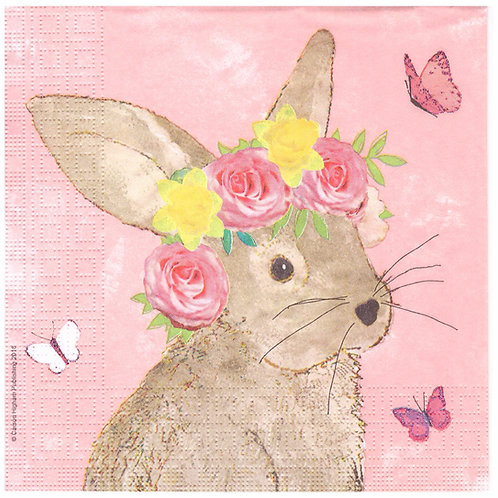 Napkins N955 Lunch size 33x33cm Bunny pink