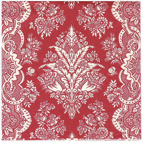 Napkins N1159 Lunch size 33x33cm Red ornate flowers striped pattern