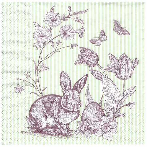 Napkins N948 Lunch size 33x33cm Easte bunny brown print green stripes