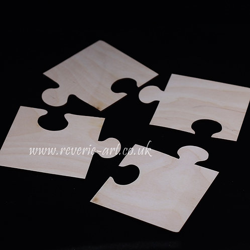 Set of 4 Wooden jigsaw puzzle coasters