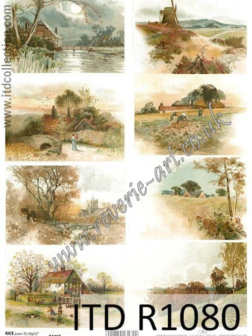 A4 rice paper R1080 Vintage countryside