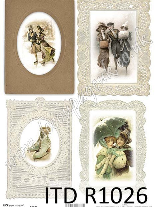 A4 rice paper R1026 Vintage Christmas frames