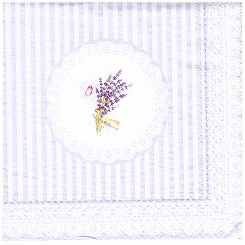 Napkins N1177 Lunch size 33x33cm Lavender stripes doilie