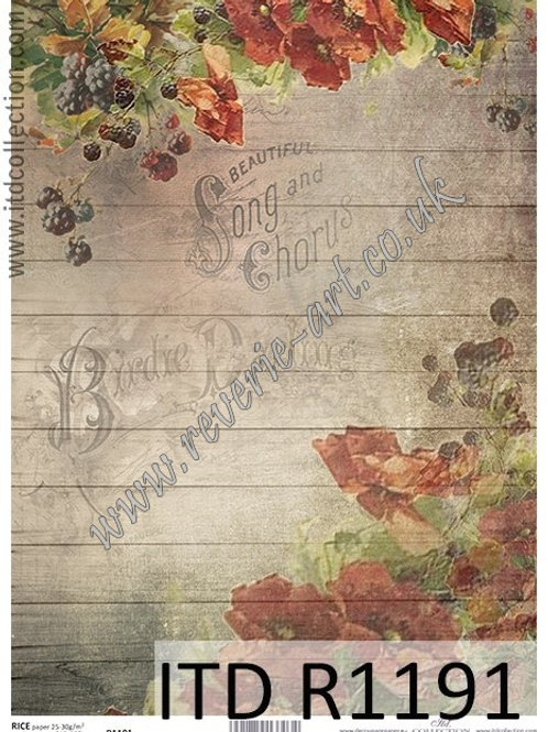 A4 rice paper R1191 Vintage flowers and fruits