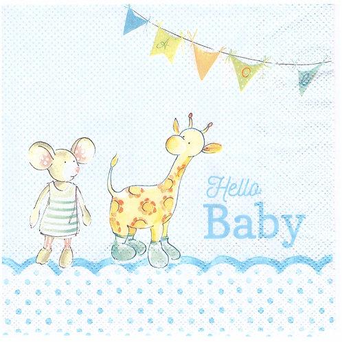 Napkins N993 Lunch size 33x33cm Hello baby boy, babyshower