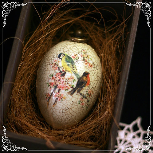 SOLD Spring birds - hand decorated  goose egg with hook