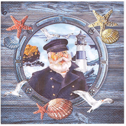 Napkins N1004 Lunch size 33x33cm Sea, lighthouse, captain, seashell