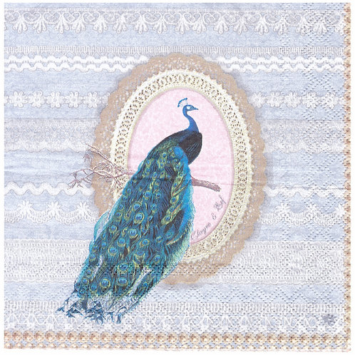 Napkins N1028 Lunch size 33x33cm Peacock vintage