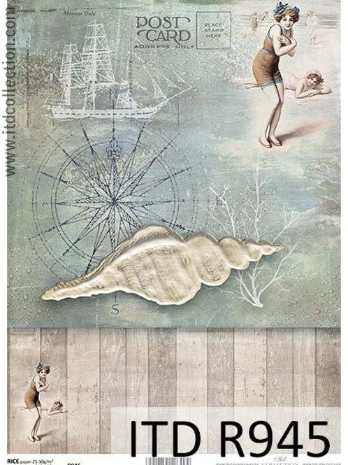 A4 rice paper R945 Vintage sea
