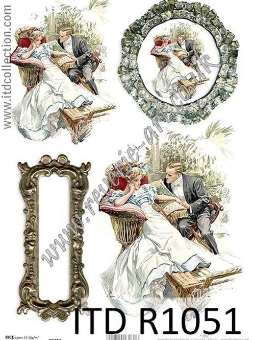 A4 rice paper R1051 Vintage Valentines
