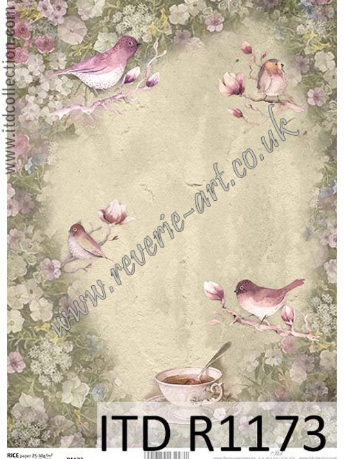 A4 rice paper R1173 Vintage flowers and birds