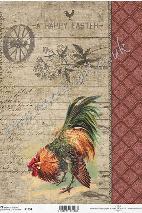 A4 rice paper R1094 Vintage rooster