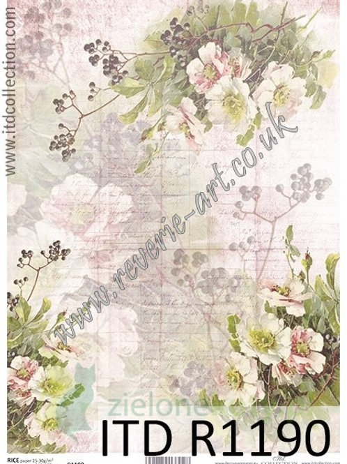 A4 rice paper R1190 Vintage flowers