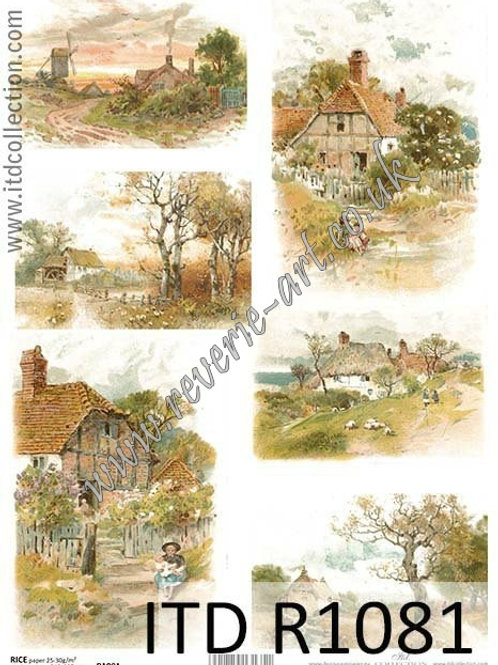A4 rice paper R1081 Vintage countryside