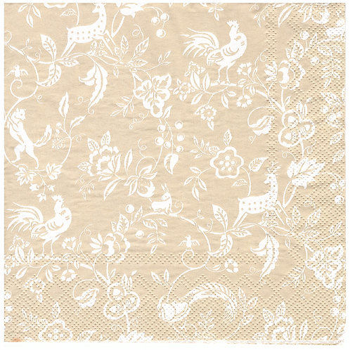 Napkins N1146 Lunch size 33x33cm Animals and flowers pattern