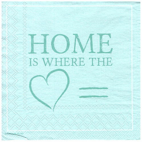Napkins N1174 Lunch size 33x33cm Home is where the heart is