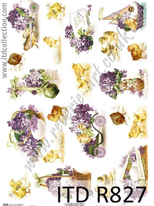 A4 rice paper R827 Vintage Easter