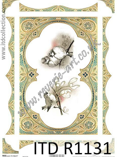 A4 rice paper R1131 Vintage Christmas Birds