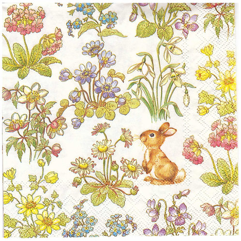 Napkins N957 Lunch size 33x33cm Little bunny and spring flowers