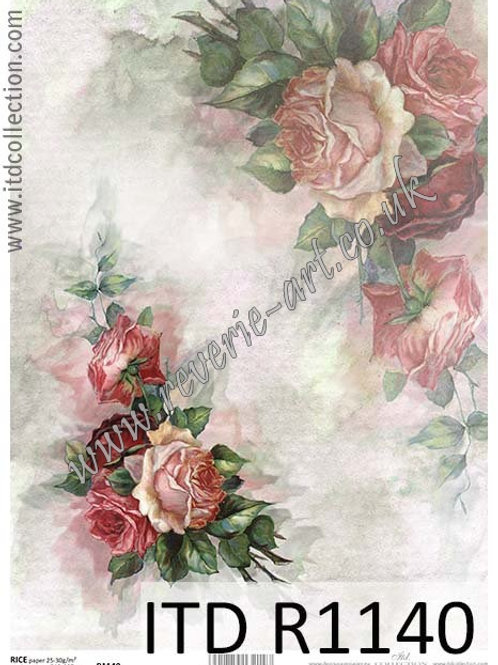 A4 rice paper R1140 Vintage roses