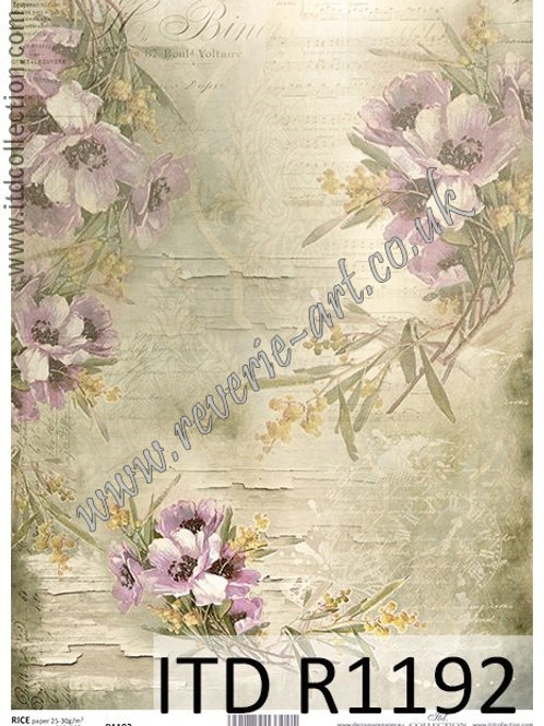 A4 rice paper R1192 Vintage flowers