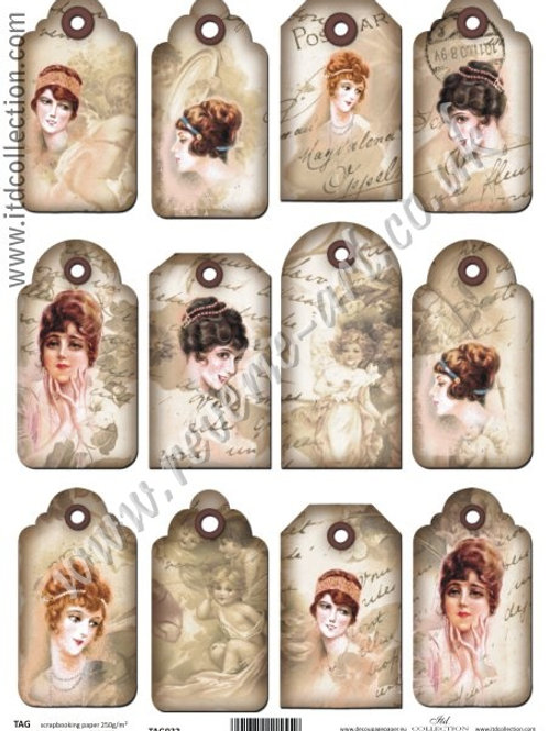 Scrapbooking and craft paper A4 - TAG vintage retro 032