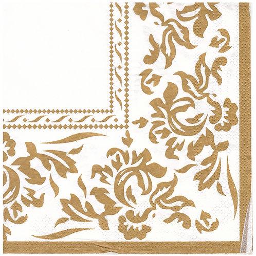 Napkins N1163 Lunch size 33x33cm Gold floral corner pattern
