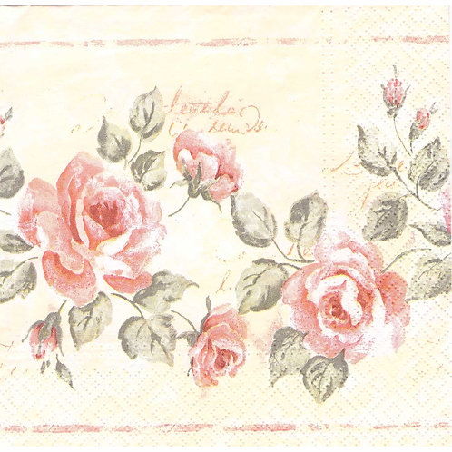 Napkins N1110 Lunch size 33x33cm Flowers pink roses