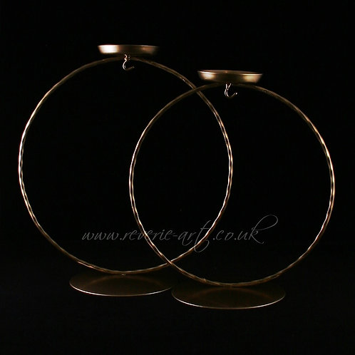Metal stands - GOLD  Round with tealight holder - for 15cm bauble