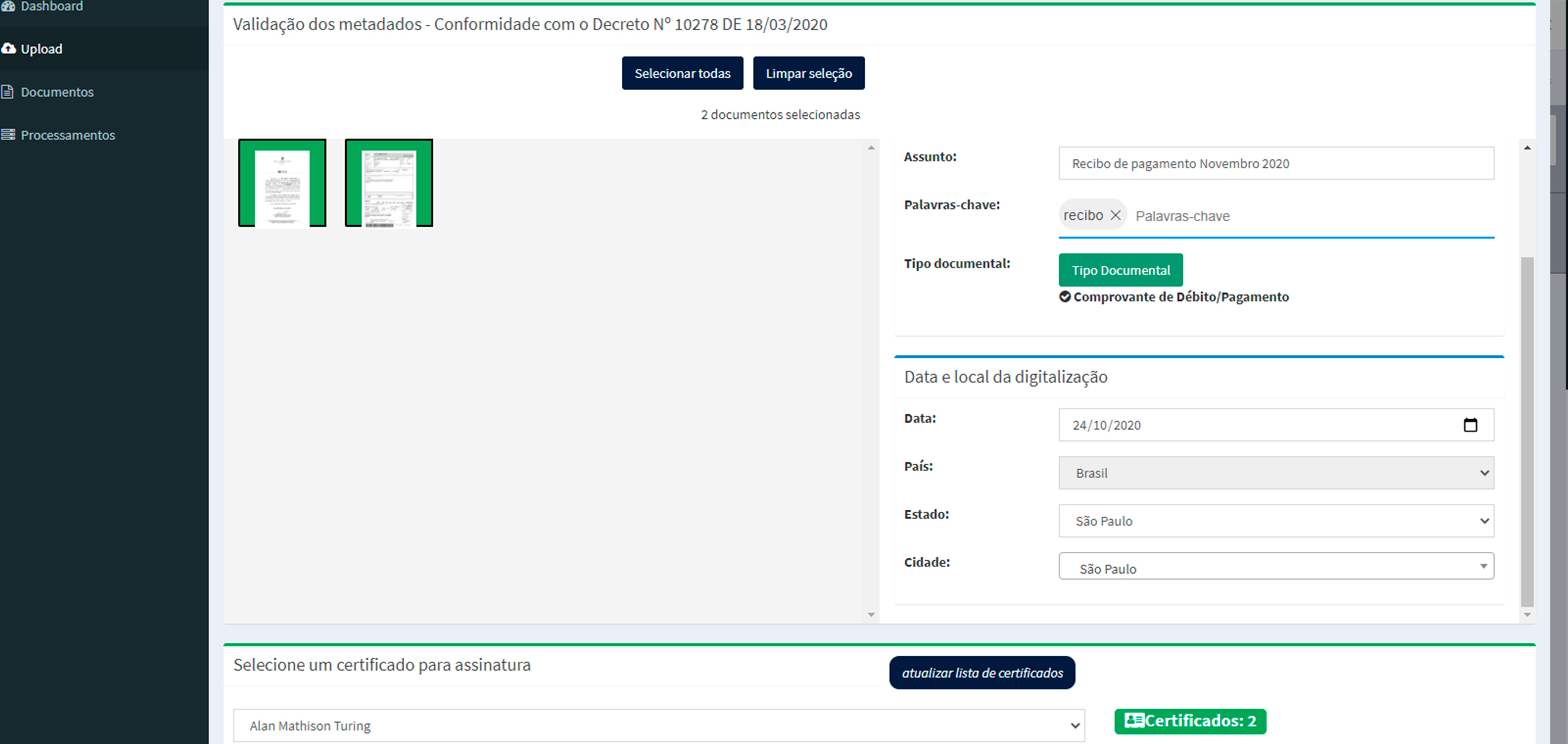 UPLOAD DE NOVOS DOCUMENTOS COM POSSIBILIDADE DE ASSINATURA DIGITAL