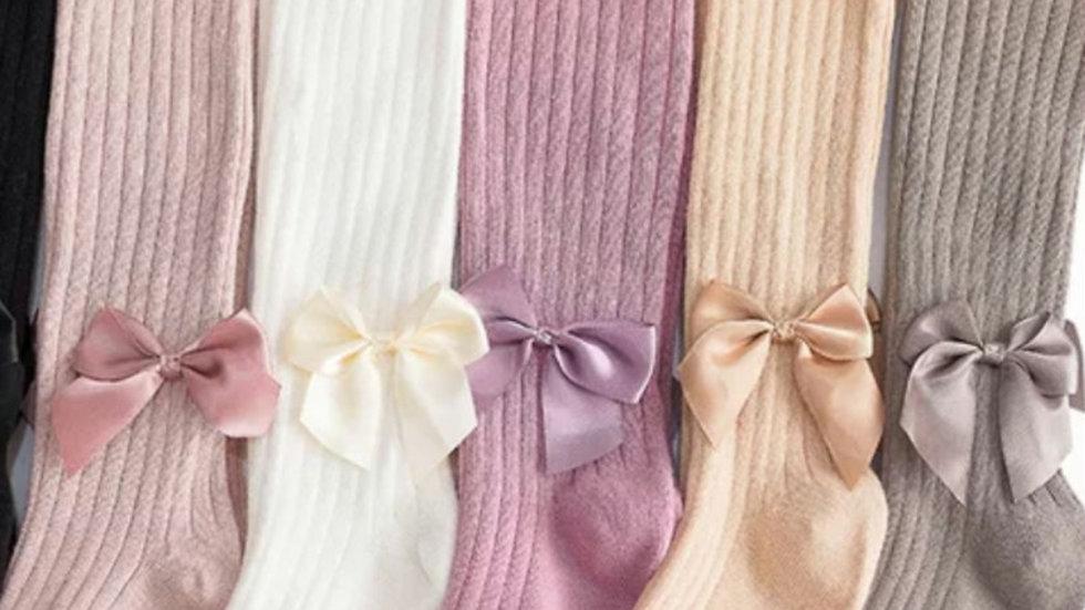 Ribbed bow tights